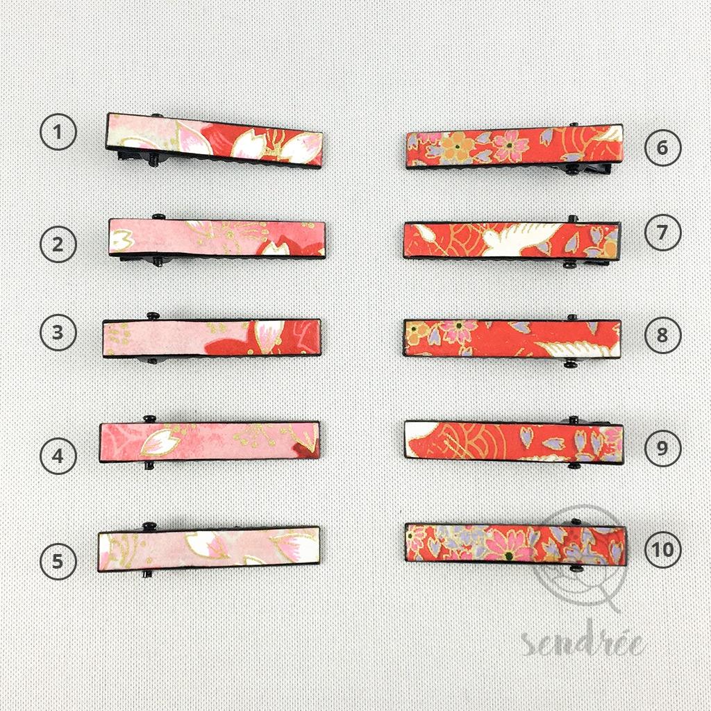 Mini pinces croco rouge rose sendrée papier japonais