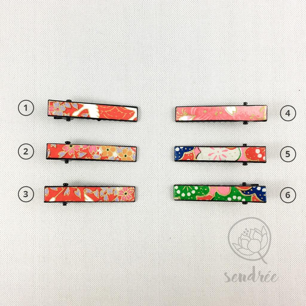 Mini pinces croco rose rouge sendrée papier japonais