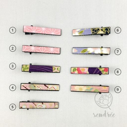 Mini pinces croco violet sendrée papier japonais