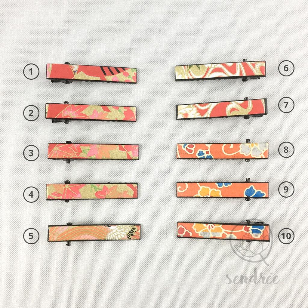 Mini pinces croco rouge orange sendrée papier japonais