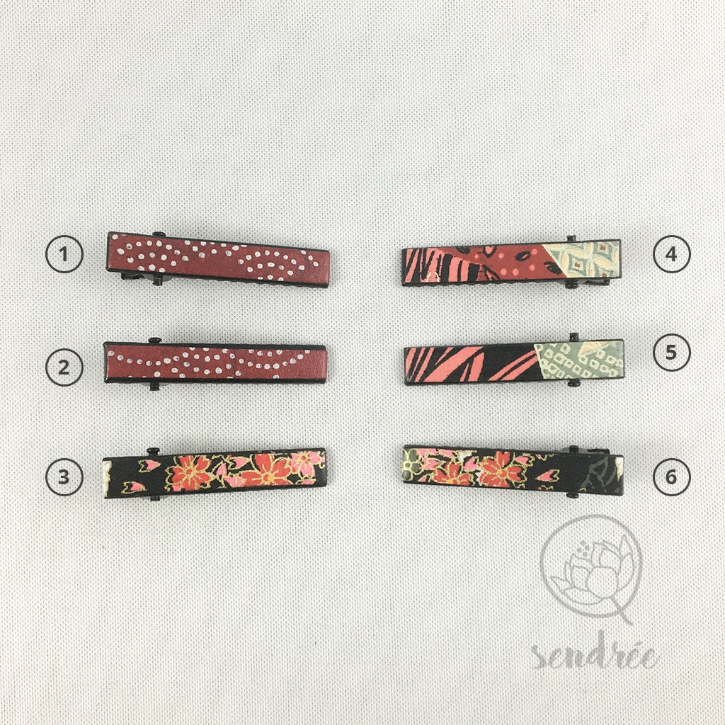Mini pinces croco noir sendrée papier japonais