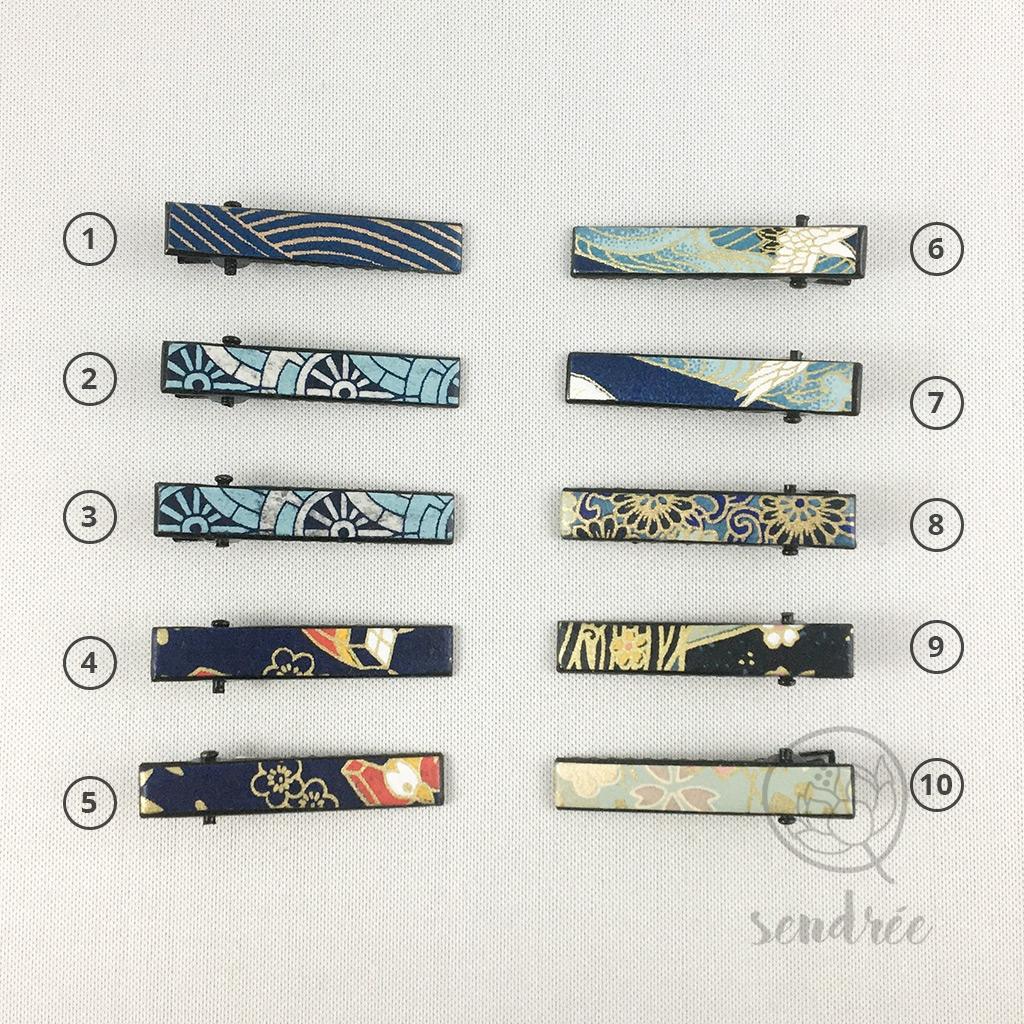 Mini pinces croco bleu sendrée papier japonais