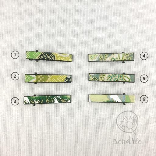 Mini pinces croco vert sendrée papier japonais