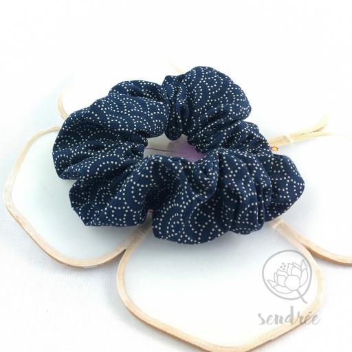 Chouchou seigaiha bleu Sendrée tissu japonais