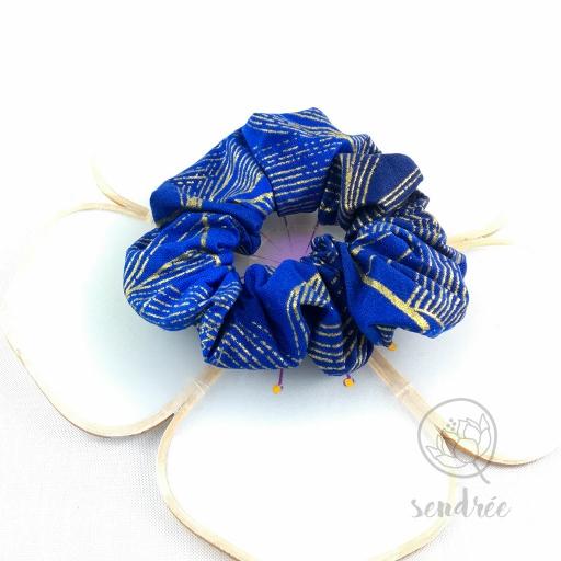 Chouchou or et bleu sendrée tissu japonais