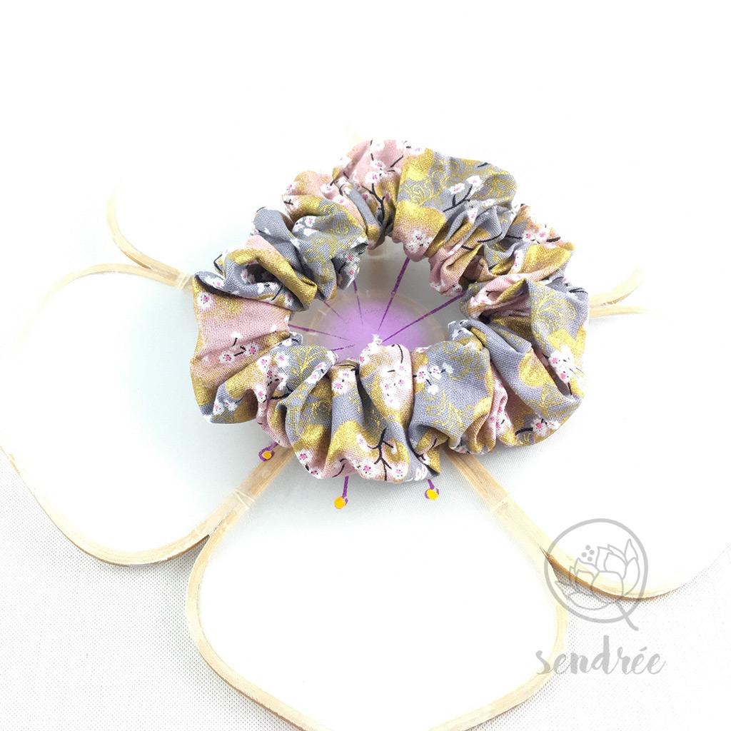 Chouchou sakura gris rose sendrée tissu japonais