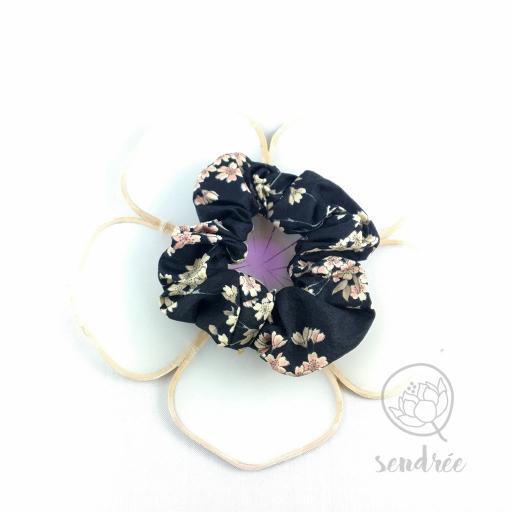 Chouchou sakura noir sendrée tissu japonais