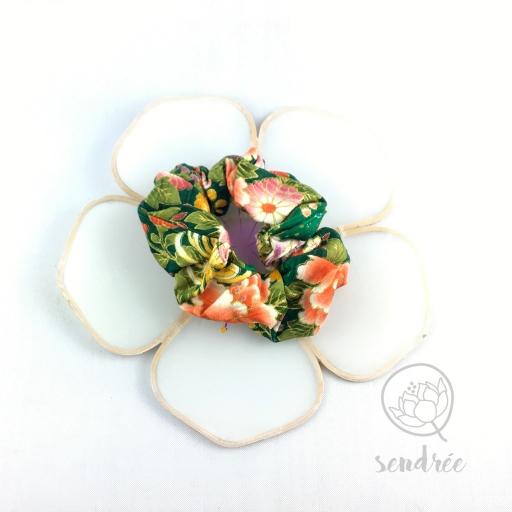 Chouchou vert orange sendrée tissu japonais