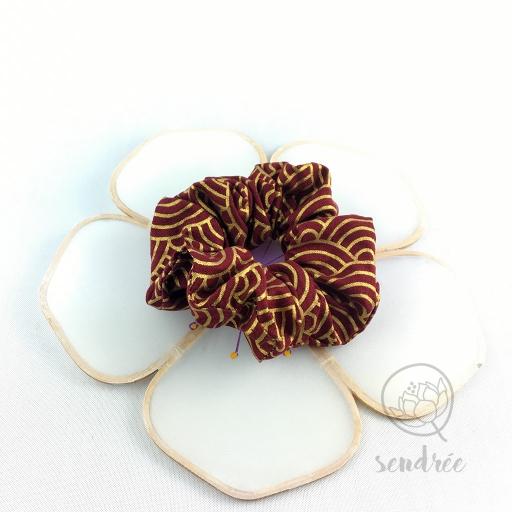 Chouchou seigaiha bordeaux sendrée tissu japonais