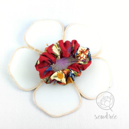 Chouchou floral rouge sendrée tissu japonais
