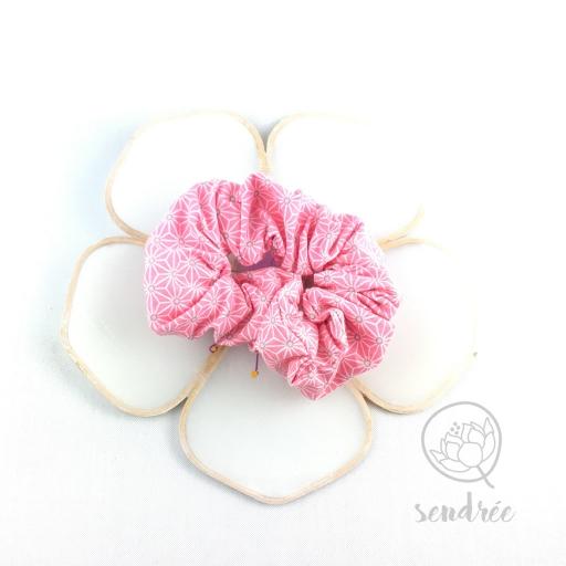 Chouchou asanoha rose sendrée tissu japonais