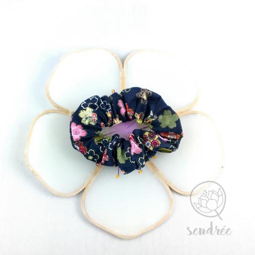 Chouchou sakura bleu sendrée tissu japonais