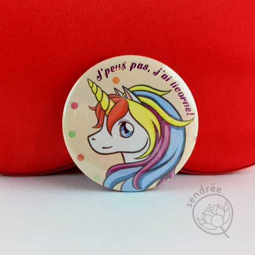 Badge Licorne Pastel sendrée
