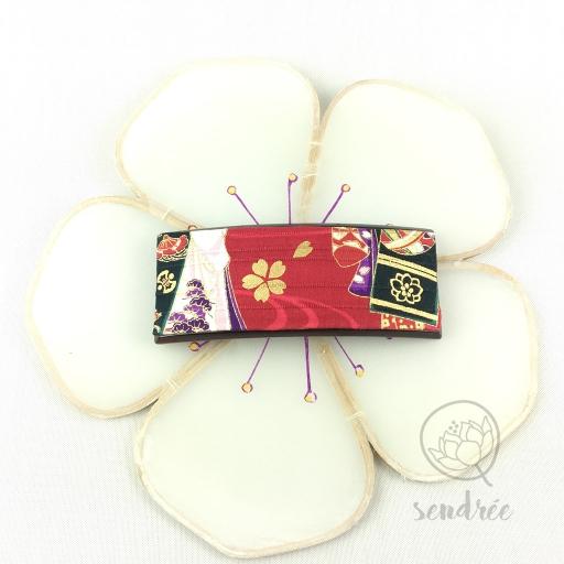Barrette L tissu geisha rouge Sendrée