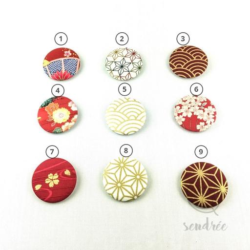 Badge épingle Tissu japonais sendrée