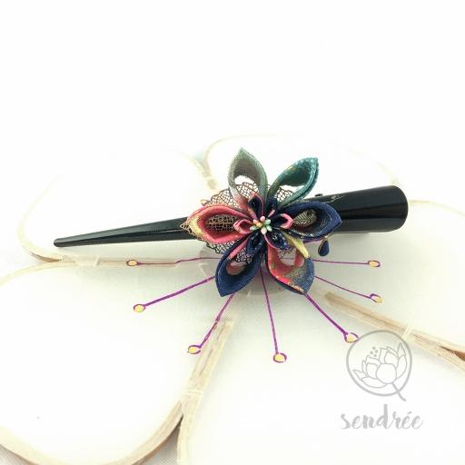 Grande pince pour cheveux tsumami zaiku sendrée tissu japonais
