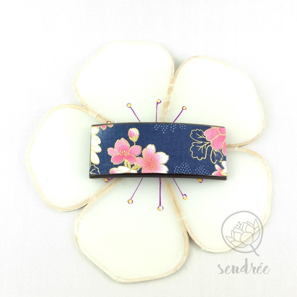 Barrette tissu japonais sendrée tissu japonais