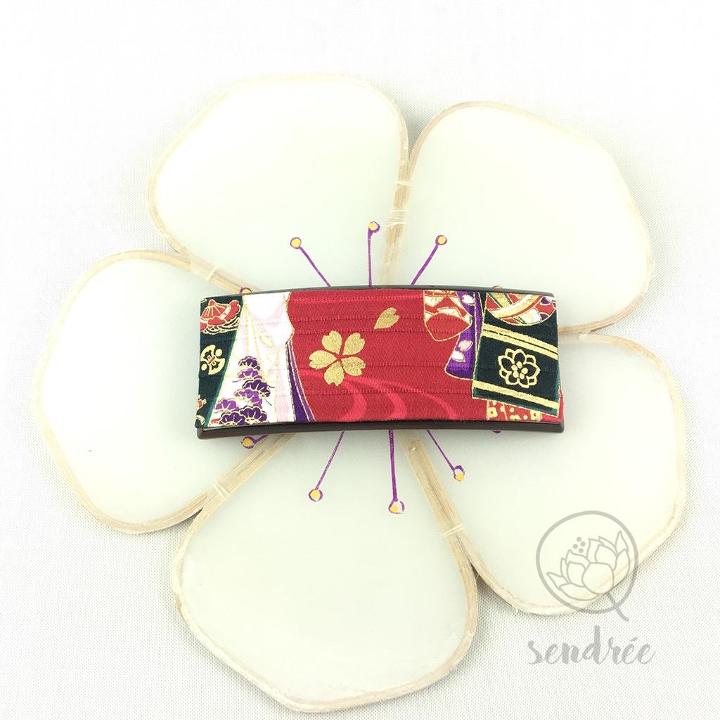 Barrette tissu japonais sendrée